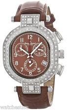 Lucien Piccard Capella Brown Leather Chronograph Diamond Watch 26487CH