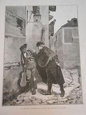 Gravure 1880 - La Sérénade Interrompue d'ap. M. Worms