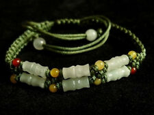Delicately Braided 6 Bamboo Jade Beaded Bracelet -become better each passing day