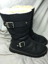 UGG TALL SKYLAH BLACK BOMBER SUEDE/ SHEEPSKIN BUCKLE BOOTS US 7