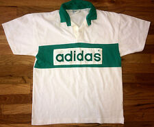 ADIDAS Vtg 80s 90s Green White STRIPE Rugby Jersey Polo tennis t shirt benetton