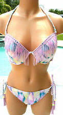 victorias secret pink bikini set 36D 38 L large Fringed bling pastel cheeky swim