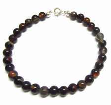 Sterling Silver Bracelet 7.5 inch with Semi-precious Black Agate Gemstone Beads