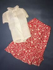 1974 Barbie Skipper Best Buy Fashions #3373 Flower Power Red White Skirt Top