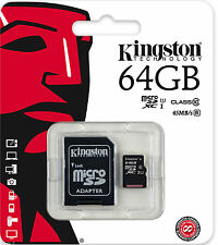 KINGSTON 64gb Micro SD Card per Samsung Galaxy J, j2, j3, j7, Legend, MEGA, K Zoom