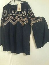 MONSOON NAVY EMBROIDERED TOP SIZE 10