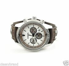 Fossil Chronograph Brown Leather Strap Silver Dial Mens Watch CH2565