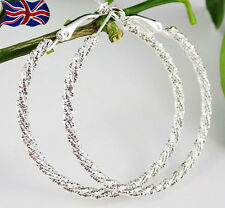 925 Sterling Silver Hoop Earrings Large Diamond Cut 50mm Twisted Rope UK