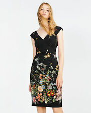 AMAZING NEW ZARA BLACK FLORAL PRINT TUBE DRESS SIZE S