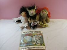 Lot of 3 Plush Where the Wild Things Are Plus Soft Cover Paperback Book