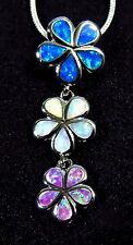 Pink White Blue Fire Opal PLUMERIA Flowers 925 Silver Filled Pendant & Necklace