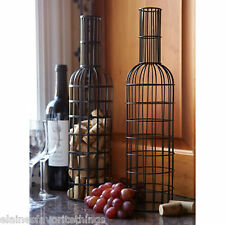 Cute way to display wine corks - Set of 2 Black Metal Wine Bottle Cork Holders