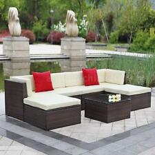 7x Cushioned Outdoor Patio Garden Furniture Sofa Set Corner Couch Sectional F3P0
