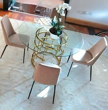 CHELSOM Glass Round Dining Table with 4 Chairs - NEW Stunning!