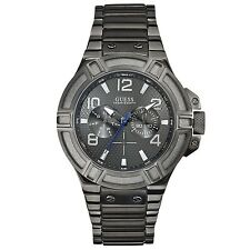 BRAND NEW GUESS U0218G1 RIGOR GUNMETAL GRAY MULTIFUNCTION ION PLATED MEN'S WATCH
