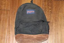 JANSPORT Black Nylon Backpack Leather Suede Bottom School Hiking Daypack