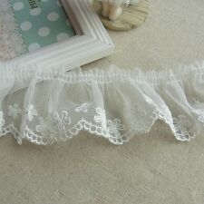 Vintage ST Embroidered Ruffle Tulle Lace Trim Lovely Flower 5cm Wide White 1yard