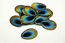 New 30pcs Embroidered Cloth Iron On Patch Sew Motif Applique peacock eye blue