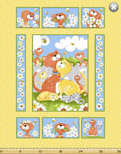 Purrl the cat by SusyBee Cotton Quilt fabric BTP Panel 44x36