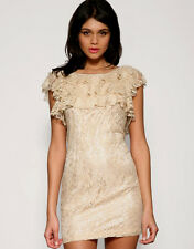LIPSY New Lace Frill Bodycon Mini Size 12 Dress Gold Nude Beige Cocktail Party