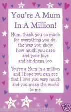 Mum In A Million Heartwarmers Keepsake Credit Card & Envelope Gift Mothers Day