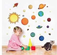 wall stickers solar system planet star rocket decal home kids room decor nursery