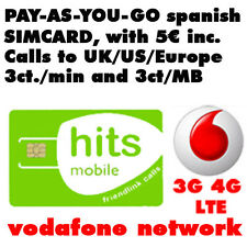 Pay as you go spanish (Micro-,Nano-) SIM CARD, Vodafone Spain, 3ct/min call UK