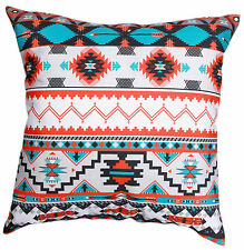 "Sky Blue White Orange Multicolour Aztec Print Cotton 18"" X 18"" Cushion Cover"