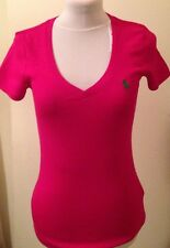 BNWT Ladies Ralph Lauren Pink Polo T-Shirt 100% Cotton Size S (6-8) RRP £45