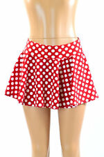 "EXTRA SMALL 10"" Red and White Polka Dot Circle Cut Mini Skirt Ready To Ship!"
