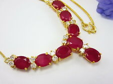 "LOVELY RUBY COLOR CZ NECKLACE 18"" Thai 22K 24K Yellow Gold GP women Jewelry Gift"