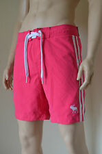 Abercrombie & Fitch Beaver Meadows Swim Board Shorts Pink Stripe L RRP £58