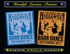 Halloween Stencil~Vintage~HALLOWEEN BARN DANCE~Witch Skeleton Pumpkin Corn Stalk