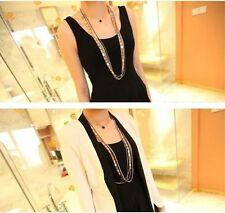 Simply Unique New Punk Noble Golden And Black Chain Long  Tassel Collar Necklace