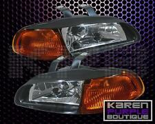 HONDA CIVIC 92-95 COUPE EG EJ 1 PC JDM BLACK HOUSING /AMBER REFLECTOR HEADLIGHT