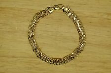 "7.25"" 14K YELLOW GOLD INFINITY LINK CURB CHAIN BRACELET 7.5mm 3.9 GRAMS"