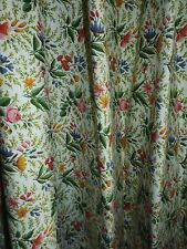Vintage Floral Curtains Drapes Heavy Pleated Lined Cloth 2 Panels (27 x 61 1/4)