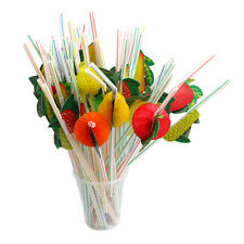 50PCS/Lot 3D Fruit Cocktail Paper Straw Umbrella Drinking Straw Party Decoration