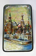 """Russian Lacquer box """"Moscow"""". Style Fedoskino. Hand Painted №111"""