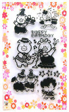 Cute animals ~ Piggy birthday ~ clear stamps set vintage FLONZ 184 rubber acryli