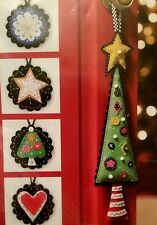 Primitive Christmas Ornaments Felt Embroidery Kit of the Month Club CUTE