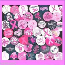 100 Precut assorted BREAST CANCER AWARENESS Support 1 inch BOTTLE CAP IMAGES