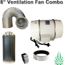 "8"" HYDROPONICS LOW NOISE DUCT FAN WITH NRC DUCTING FILTER VENTILATION COMBO"
