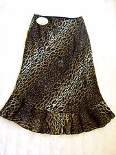 "Joseph Ribkoff Leopard Print Tiger Cat Chiffon Mermaid Frill Long Skirt 28""W 10"