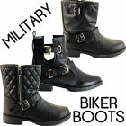 WOMENS LADIES COMBAT BIKER ARMY MILITARY FLAT LACE UP WORKER ANKLE BOOTS SIZE