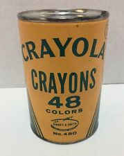 Crayola Crayons Round Tin 48 Colors Binney & Smith No 480 Made in USA Vintage
