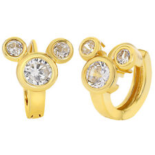 18k Gold Plated Mouse Clear CZ Hoop Huggie Earrings Girls Teens 8mm