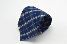 NWT Vintage Abercrombie & Fitch Neck Tie Made in USA Cotton Plaid Knit Blue New