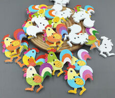 20x Cartoon rooster chickens Wooden Buttons sewing scrapbooking decoration 31mm