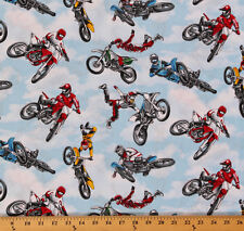 Cotton Motocross Racing Motorcycles Sports Cotton Fabric Print by Yard D668.36